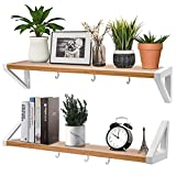 Kids Floating Shelves Small for Wall, Wall Shelves for Bedroom, Premium Floating Wall Shelf, Hanging Bathroom Shelves, Floating Nursery Shelves, No Tool Floating Shelves Set of 2 with Hooks