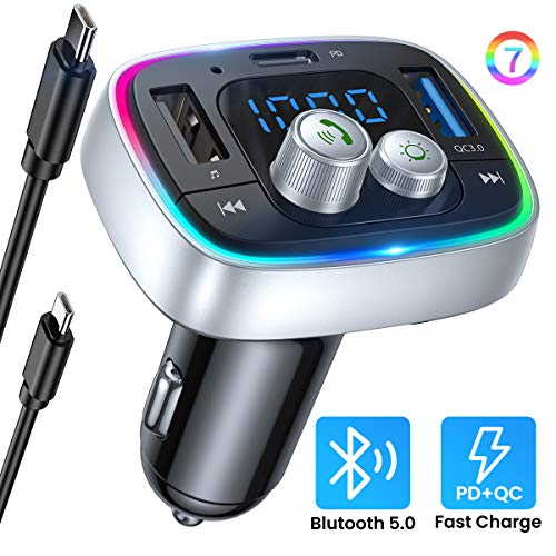 AINOPE FM Bluetooth Adpter Auto, PD3.0 & QC3.0 36W/6A V5.0 Bluetooth Transmitter Auto, Kfz Radio FM Transmitter Bluetooth Auto Freisprechanlage mit 7-Farben LED Backlit Unterstützt TF-Karte USB-Drive