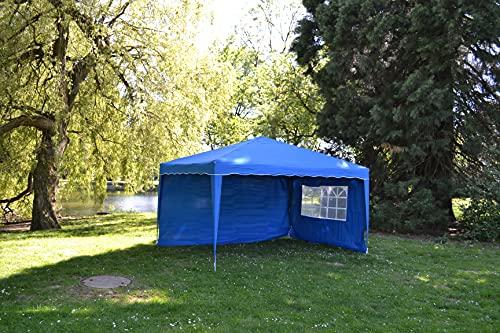 Defacto Faltpavillon 3x4m Gartenzelt Partyzelt Garten Pavillon 3x4m faltbar Polyester -100{e849b81c52ec64a85800a2f90d20a7bbc6e7b5c1e194aaf57ca06645aa4f2cf1} Wasserdicht Inkl. Seitenteile Tragetasche, Befestigungsseilen & Herringer BLAU