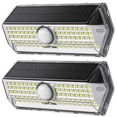 LITOM Solarlampen für Außen【2020 Neuestes Model 4 Modi】mit Bewegungsmelder Solarleuchte Aussen100 LED1200 Lumen, Solar Wasserdichte Wandleuchte Solar garten-2 Stück
