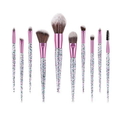 Makeup Brush Set, 10PCS Professional Makeup Brushes, Glitter Makeup Brush Kit for Face Foundation Eyeshadow Blending, Bling Handle Synthetic Bristle