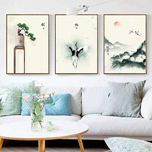 Triptychon Leinwand Puzzle 3 Stück Chinesischer Alpenkranich Moderne Frische Triptychon Bilder Wohnzimmer Schlafzimmer Dekorative Gemälde Niedlich Ölgemälde Portfolio-C1