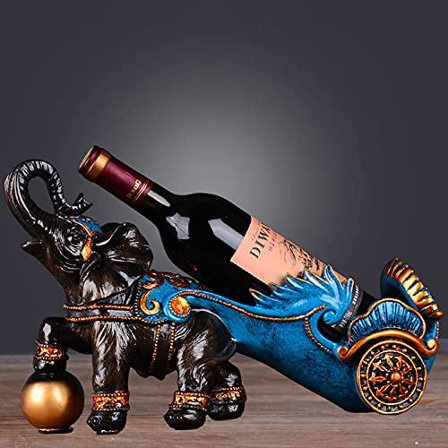 Titular de la botella de vino de la mesa figurilla novedad elefante resina encimera encimera vino estante de vino decoración animal almacenamiento organizador elefante banco de barbas accesorios