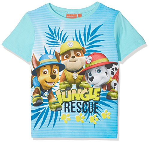 Suncity Jungen Paw Patrol Chase T-Shirt, Türkis (Turquoiz 14-4816 TC), 5 Jahre