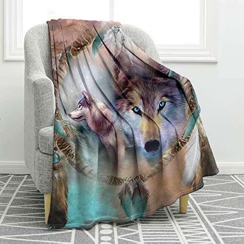 Jekeno Wolf - Manta con estampado de atrapasueños, suave, cómoda, cálida, para sofá, cama, viajes, camping, regalo, 127 x 152 cm