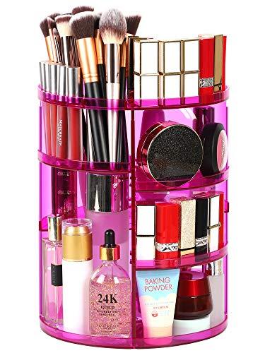 Syntus 360 Rotating Makeup Organizer, DIY Adjustable Bathroom Makeup Carousel Spinning Holder Rack, Large Capacity Cosmetics Storage Box Vanity Shelf Countertop, Fits Makeup Brushes, Lipsticks, Purple