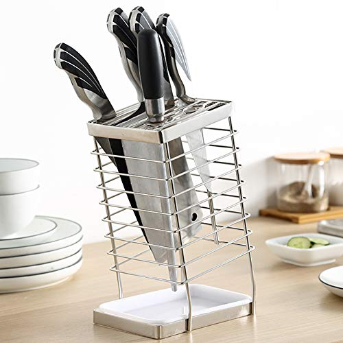 SUS 304 stainless steel Universal Knife Block Holder Easy Cleaning Space Saver Knife Storage  Unique Design Slot to protect blades  Removable tray 14Slot