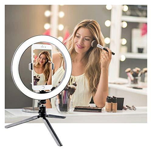 QIANGQSM Anillo de luz LED de 10 Pulgadas Regulable Lámpara autofoto con la fotografía del trípode de cámara de luz de teléfono for el Maquillaje de vídeo en Directo Lámpara de Mesa (Color : Black)