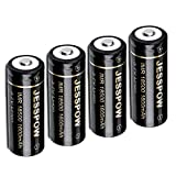 18500 Rechargeable Batteries, JESSPOW IMR 18500 Rechargeable Li-ion Battery 1600mAh 3.7V [ for Flashlight, Solar Garden Light ] with Button Top (4 Pack)