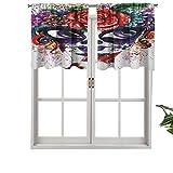 Hiiiman Cortinas térmicas aisladas con cenefa de acuarela estilo cara de niña con maquillaje floral, juego de 1, 91,4 x 45,7 cm para dormitorio con bolsillo para barra