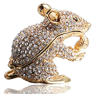 Waltz&F White Diamond Golden Mouse Hand-Painted Trinket Box Animal Jewelrybox Figurine Collectible Ring Holder