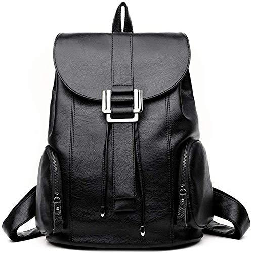 HHTD Classical Casual Daypack Mochilas Mochila para Mujer, Moda Cuero Ocio Bolsa de Viaje Modern Modern MODIMALISTA Moda IMPERMATABIL (Color : Black)