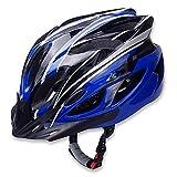"""長時間の装着も、首が疲れにくく快適な軽量素材のヘルメットです!   通勤やサイクリング時にも使用でき、サイズ調整が可能なのでお子様から大人まで着用することができます。さらに、通気性も良くムレにくいヘルメットです! 外部は丈夫で堅く、内部はソフトパッドの入った自転車用ヘルメットなので、外部からの衝撃力を吸収することができます。 【セット内容】サイクリングヘルメット×1点 【商品サイズ】フリーサイズ(サイズ調整可能)詳しくは、画像をご確認下さい。 【カラー】ブラック×ブルー """"良品市場 大阪店""""より..."""