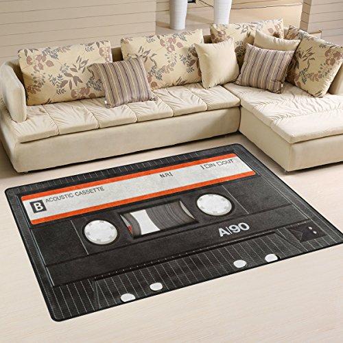 Use7 Teppich mit Kassette und Musikbereich, rutschfest, für Wohnzimmer, Schlafzimmer, 100 x 150 cm