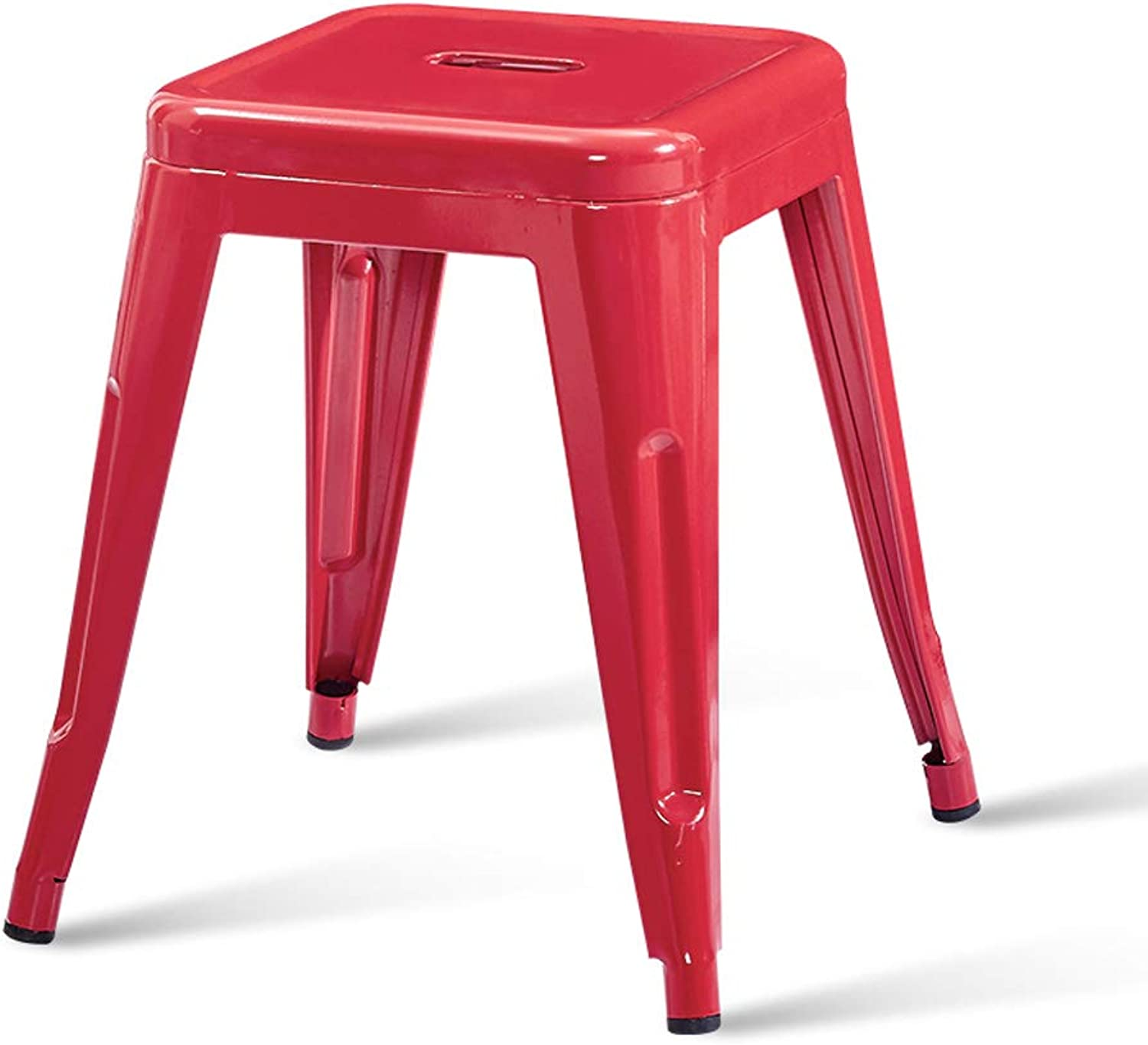 CJH Modern Minimalist Iron Stool Fashion Creative Stool Table Stool Home Living Small Bench Red Adult Stool