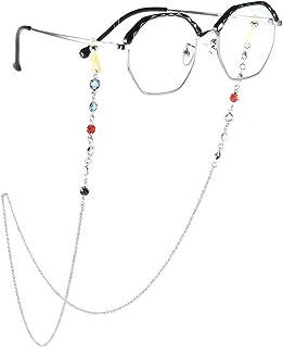 Yienate Bohême Chaînes de lunettes pour femme avec strass colorés Accessoires de lunettes – Support de sangle de lunettes...
