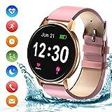Bluetooth Smartwatch Damen Fitness Tracker Uhr mit Pulsuhr Wasserdicht IP68 Schwimmen...