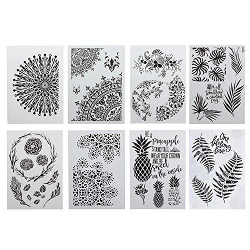 8 Zeichnungs-Schablonen Kreative DIY Kunststoff Grafik Bullet Journal Schablone Monstera Palme Tropische Blume grüne Blätter Pflanzenmuster Vorlage Wiederverwendbar für Kunstprojekte Scrapbooking