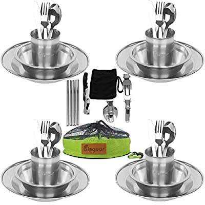Bisgear 34pcs Stainless Steel Tableware Mess Kit Includes Plate Bowl Cup Spoon Fork Knife Chopsticks Carabiner Wine Opener Dishcloth & Mesh Travel Bag for Backpacking & Camping for 4 Person