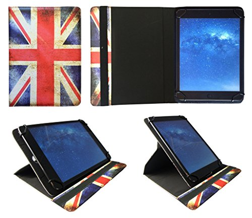 Sweet Tech Vodafone Tab Speed 6 4G Tablet 8 Inch Union Jack Universal 360 Degree Rotating PU Leather Wallet Case Cover Folio (7-8 inch)