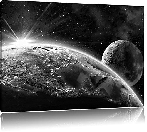 Pixxprint Erde Mond All als Leinwandbild | Größe: 80x60 cm | Wandbild | Kunstdruck | fertig bespannt