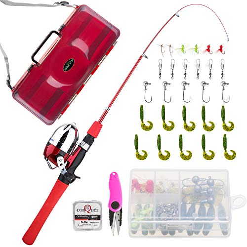 KOMEX Kids Fishing Pole Telescopic Fishing Pod All-in-One Youth Fishing Kit with Net, Travel Bag, Reel and Beginner's Guide and Reel Kit for Boys, Girls, Or Youth
