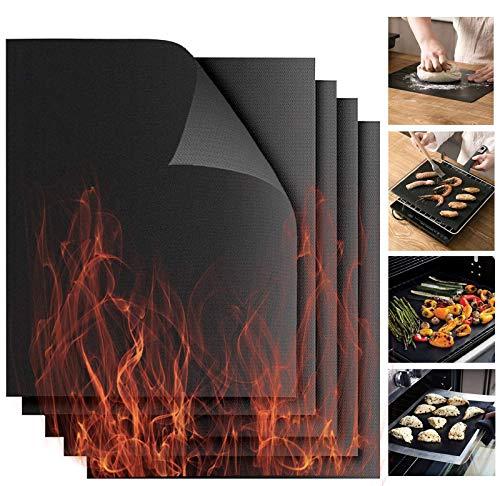 BBQ Grillmatte, 5er Set Schwarz Backmatte Antihaft Grillen und Grillfolie Wiederverwendbar für Holzkohlegrill, Elektrogrill, Gasgrill & Backofen Universell einsetzbare 40x33cm MEHRWEG