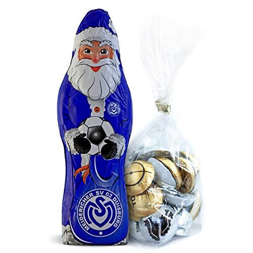 MSV Duisburg Schokoladen Weihnachtsmann, Schoko Nikolaus (150 g) Plus Fußball Schokoladenmischung (150g)