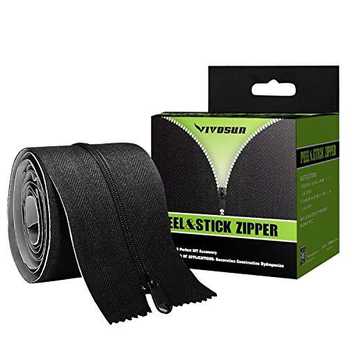 VIVOSUN Two Packs Heavy Duty Peel & Stick Zipper for Dust Barriers 7ft x 3inch