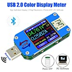 UM25C Color LCD Display Tester, 1.44 Inch 5A USB 2.0 Type- C Bluetooth Tester, Voltage Current Meter Voltmeter Ammeter Battery Charge, Measure Cable Resistance, Load Impedance Measurement