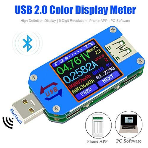 MakerHawk USB Power Meter UM25C USB Voltmeter Bluetooth Type C USB Tester Meter USB Voltage Meter and Current Tester 1.44inch 5A Color LCD Displaeter QC 2.0 3.0y Power Tester Multim