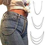 Wallet Chain Pocket Chain Belt Chains Jean Chains 22.5' Silver Keychain with Both Ends Lobster Clasps Keys, Wallet, Jeans Pants Belt Loop Purse Handbag-Silver-3layer