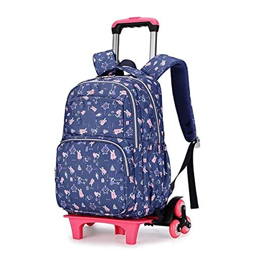 YUTCRE Mochilas Escolares con Ruedas, Mochila Escolar Trolley Portátil Maleta Infantil Caja Trolley Multifunción Mochila de Viaje para Niños Niñas (Color : Dark Blue, Size : 42 * 30 * 18cm)