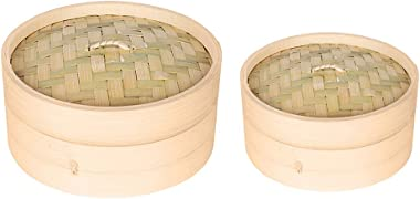 homozy 2 X Bamboo Steamer Single Tier Bamboo Steamers for Steaming Dim Sum Dumplings Buns Vegetables Meat Fish Rice - 6 inch & 7 inch