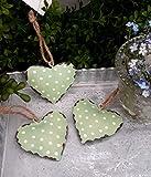 3er Set Metall herzen zum Hängen grün mit Punkten 5 cm Fensterdeko Shabby Chic Vintage Wohndeko Geschenkanhänger