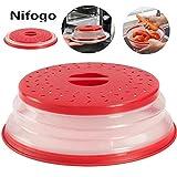 Nifogo Pliable Micro-Onde Plaque,Couvercle Pliable de Micro-Onde passoire,Cloche Micro-Ondes,Accessoire Lave Vaisselle,sans BAP et Non Toxique (Rouge)