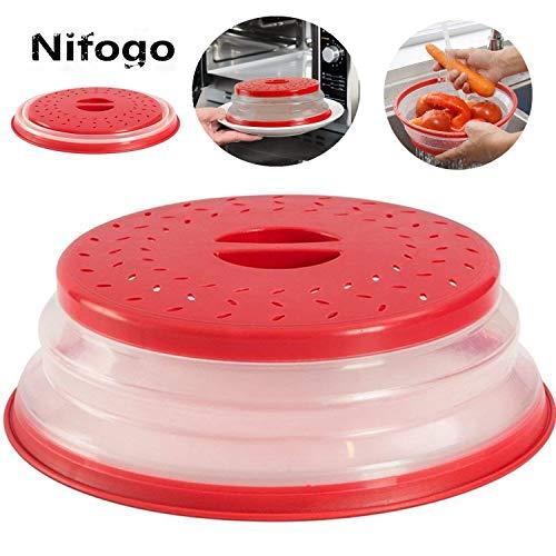 Nifogo Tapa Plegable para Microondas,Tapa microondas Plegable Colador,sin BPA y no tóxico,Salpicaduras,para Lavar Frutas (Rojo)