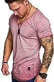 Amaci&Sons Oversize Herren Vintage T-Shirt Verwaschen V-Neck Basic V-Ausschnitt Shirt 6034 Bordeaux M