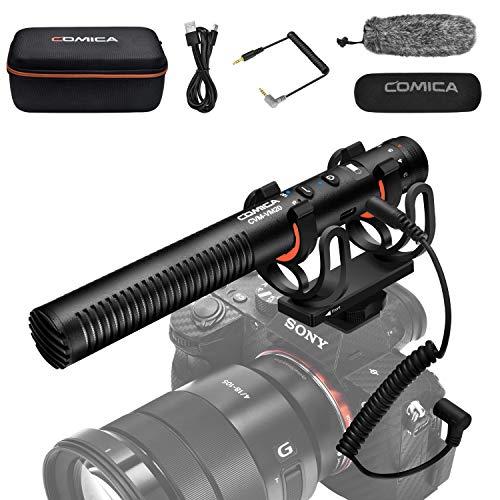 Comica CVM-VM20 Microfono a Fucile con Display OLED Power, Microfono Video Direzionale Super Cardioide per DSLR Canon Nikon Sony e Smartphone (Interfaccia da 3,5 mm)