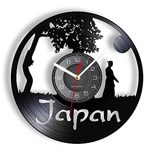 Vinyl Wanduhr Kultur Album Re-purposed Record Bushido Spirit Full Moon Ästhetisch gestaltete Led Vinyl Uhr 12 Zoll