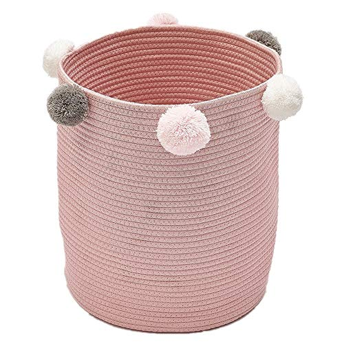 Zinsale Corda di Cotone Ceste per la Biancheria Pom Pom Robusto Lavabile Cesto della Biancheria Bambino Contenitore di Giocattoli Cesto portaoggetti (Rosa)