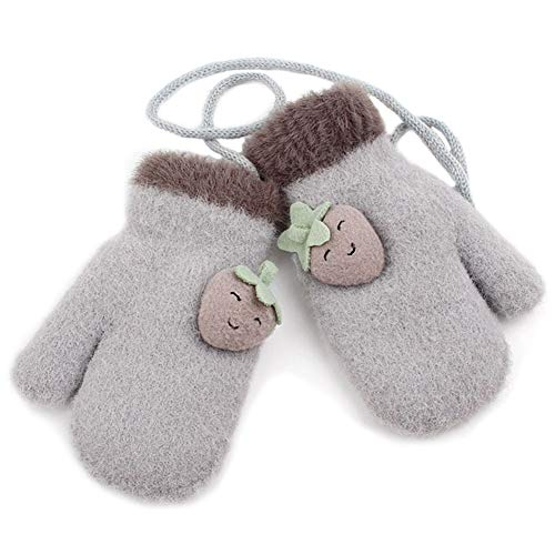 MAGIMODAC Gefütterte Fäustlinge Handschuhe mit Band 2-5 Jahre Kinder Mädchen Jungen Skihandschuhe Winter Strickhandschuhe Winterhandschuhe Thermo (C-Grau)