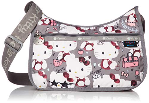 LeSportsac Hello Kitty Exclusive Classic Hobo Crossbody Bag + Cosmetic Bag, Style 7520/Color G630, Hello Kitty Embroidered Lettering on Strap & Hello Kitty Design Zipper Pull