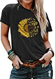 Cicy Bell Women's Cute Sunflower Graphic T Shirts Letter Print Short Sleeve O Neck Summer Casual Cotton Tees Tops Black
