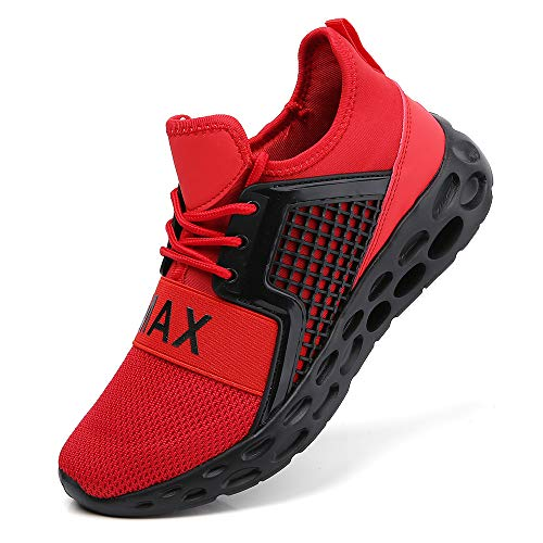 Running Sport Shoes for Men Mesh Walking Casual Jogging Sneakers Non Slip Stylish Breathable Comfort Tennis Gym Athletic Black Red Size 11
