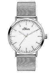 s.Oliver Damen Analog Quarz Armbanduhr mit Edelstahlarmband SO-3145-MQ