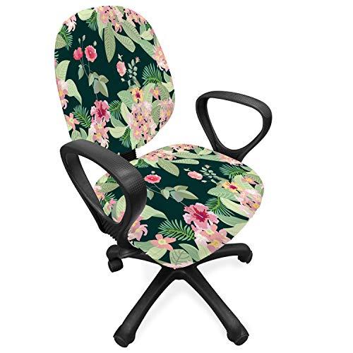 ABAKUHAUS Magnolie Bürostuhl Schonbezug, Garden Design, Dekorative Schutzhülle aus Stretchgewebe, Mehrfarbig