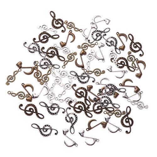 SUPVOX Ciondoli Pendenti Forma Nota Musicale per creazione Gioielli 60 Pezzi (Bronzo Argento)