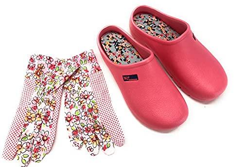 Trachten-Dirndl-More Damen Clogs & Pantoletten mit Gartenhandschuhen Verschiedene Designs Blumen, Uni,Punkte (rosa, Numeric_39)
