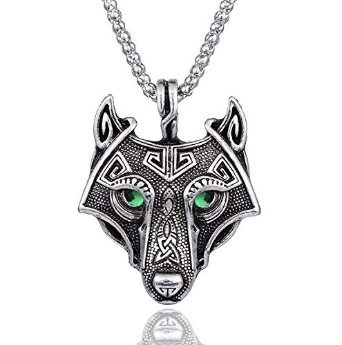 Viking Celtic Norse Wolf's Head Pendant necklace with Velvet gift bag pouch